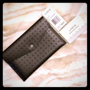 LODIS Black Perforated Leather Envelope - NWT